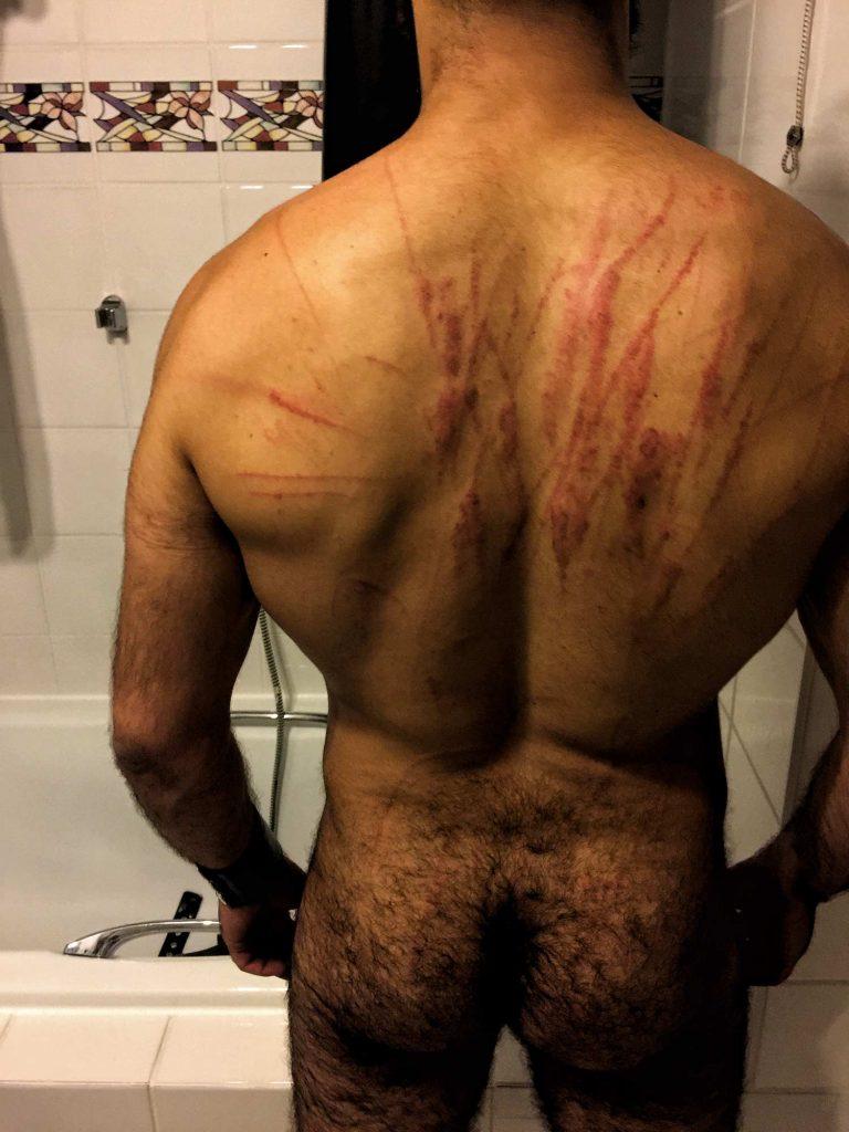 Whip whipping marks on skin bruised back slave bdsm BOSS Berlin